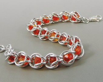 Swarovski  Chainmail Bracelet, Chainmaille Bracelet, Swarovski Crystal Passions Fireopal Chain Mail, Captured Chainmail