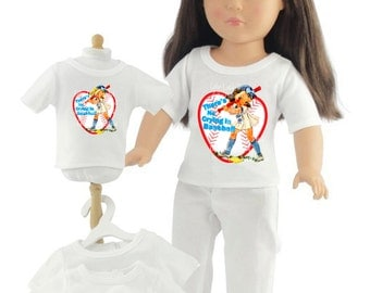 """American Made Girl Doll Clothes 18"""" - Graphic Tee - T-shirt, Top, Separates"""