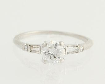 Vintage Folger Diamond Engagement Ring - 900 Platinum .84ctw Unique Engagement Ring L9908