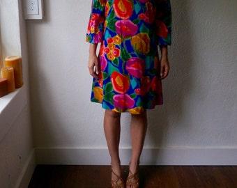 Vintage Handmade Floral Dress XS S M Psychedelic Mod Midi 60s 70s Boho Hippie Gypsy Bohemian Hipster OOAK Bold Bell Sleeve Folk Festival