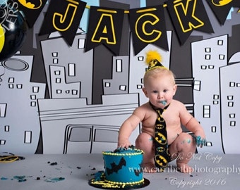 Boys First Birthday Outfit Cake Smash Diaper Cover Tie & Party Hat in Black and Yellow Batman Print