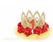 Belle Inspired || Birthday || princess lace crown headband || customize