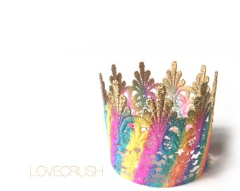 Stand with Love || Tallulah lace crown || rainbow swirl || headband option