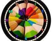 Decorative Colored Art Pencils Wall Clock