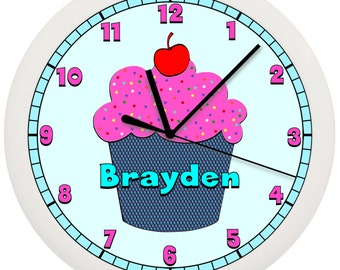 Pink Cupcake Wall Clock Personalized Bakery Coffee Shop Cafe