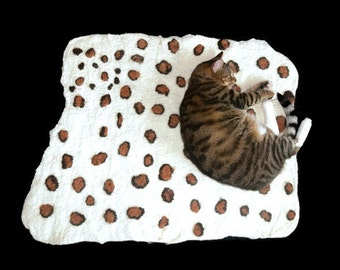 Cat Bed - Cat Mat - Felted Wool Throw - Persimmon Leopard - Pet Bed - Ready to Ship