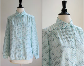 Vintage 1960's spring florals and polka dots blouse / collared button down
