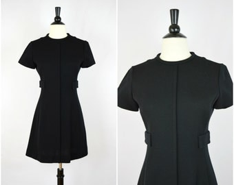 Vintage 60's mod black wool mini dress with side pockets