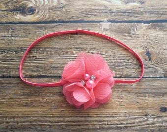 Coral baby headband, baby headband, infant headband, newborn headband, baby girl headband, headband, elastic headband, headband for newborn