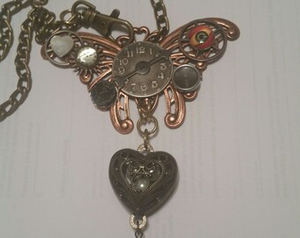 STEAMPUNK Assemblage NECKLACE Time Stands Still Geared For Love