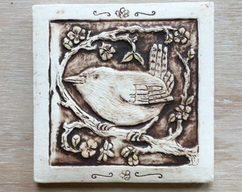 Wren in a cherry tree 4x4 inch porcelain tile in chocolate brown with light red snd olive highlights for hanging or installation