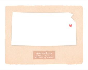 KANSAS personalized art print - Home decor - Custom text - Wedding gift Bridal shower gift Housewarming gift  Larger for wedding guest book