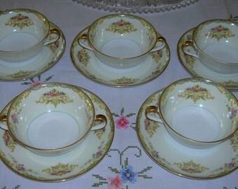 5 Antique Vintage Noritake Porcelain China, Gloria Pattern, Cream Soup Bowls & Saucers Circa 1930's