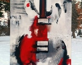 Guitar Painting, Abstract Painting, Red White & Black Painting, Large Original Painting on Canvas, 36x24 Heather Day Paintings Free Shipping
