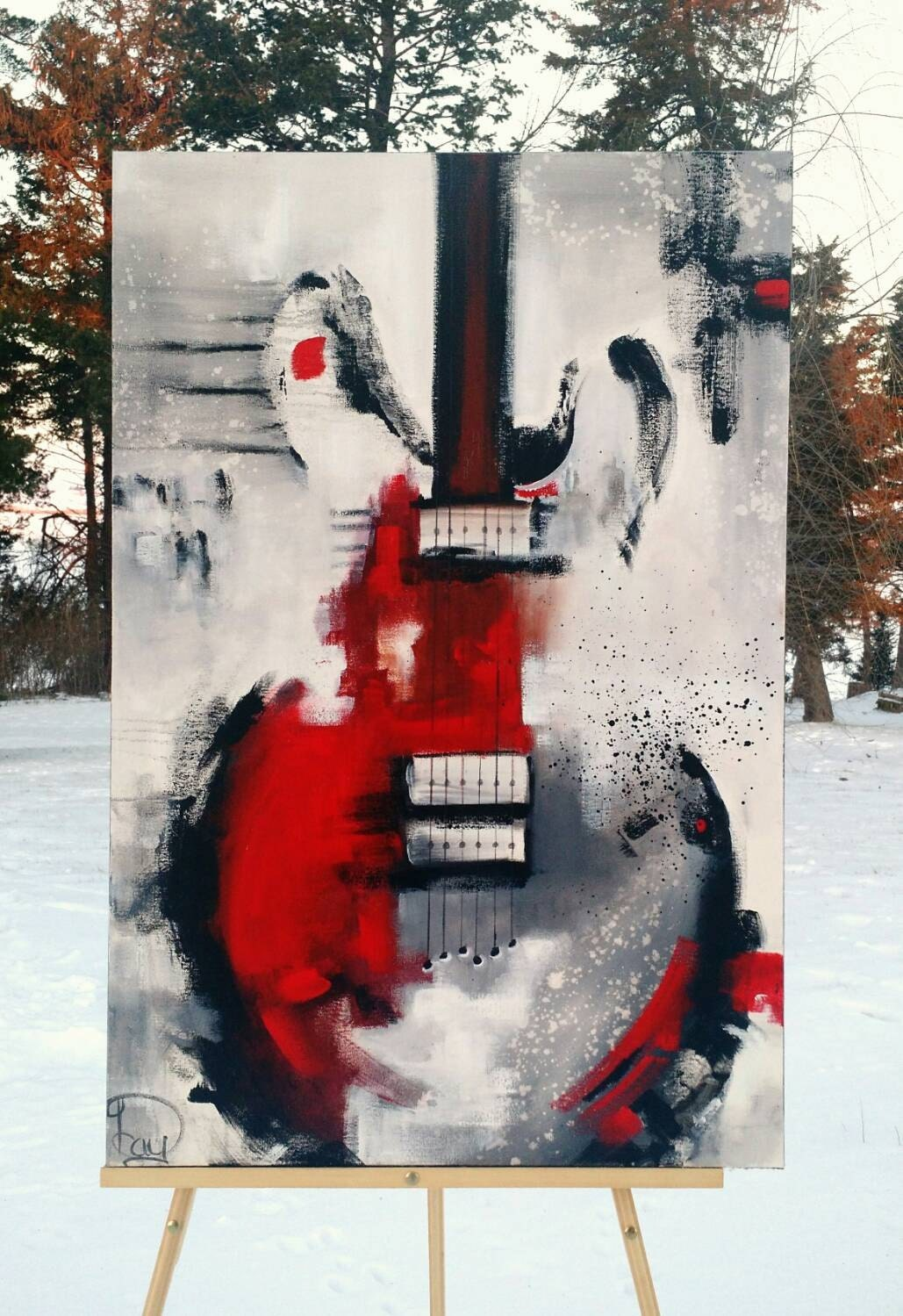 guitar painting abstract painting red white black. Black Bedroom Furniture Sets. Home Design Ideas