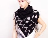 Crochet BLANKET SCARF with tribal pattern   ,black beige