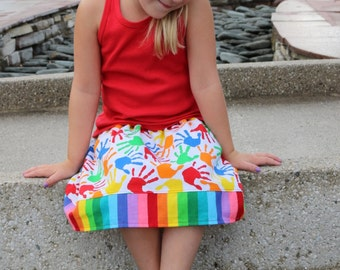 Rainbow and Handprints  Skirt (2T, 3T, 4T, 5, 6, 7)