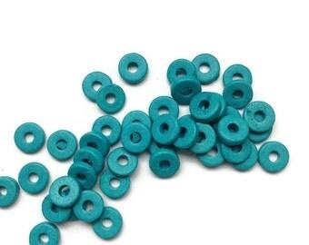 15% OFF 30 Blue Greek Ceramic Beads, Blue Rondel Beads, Blue Spacer Beads, Blue Ceramic Washer 8mm C 10 406