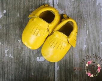 WOW! Sunshine FRINGES Moccasins 100% genuine leather baby moccasins Mocs moccs