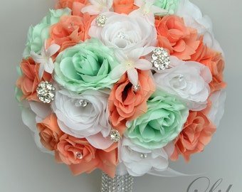 "17 Piece Package Wedding Bridal Bouquet Silk Flowers Bouquets Artificial Bride MINT CORAL WHITE Green Jewels Diamond ""Lily of Angeles COMI02"