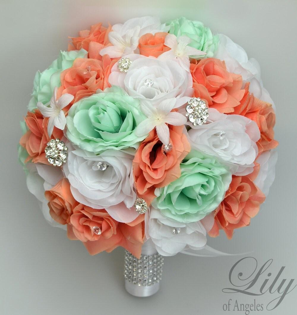 17 piece package wedding bridal bouquet silk flowers bouquets zoom dhlflorist Gallery