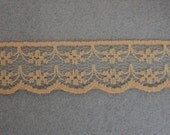 Light Coffee Brown Flat Scalloped Edge Lace ... 3/4 Inch Wide ... You Choose Length (1 Yard, 3 Yards, 5 Yards)  ... Item No. L236