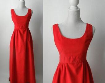 Vintage Red Dress, 1960s Red Dress, Red Velvet Dress, Vintage Maxi Dress, Red Maxi Dress, Velvet Maxi Dress, 60s Velvet Gown, Vintage Gown