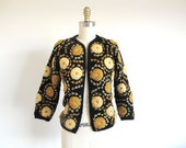 Vintage 50s Sweater, Yarn Embroidered Sweater, Black and Gold Cardigan, Knit Jacket, 1950 Style