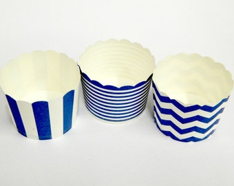 Cupcake Baking Cups, 20 Navy Baking Cups, Candy / Nut Cup, Baking Cups, Ring Stripe, Vertical Stripe, Chevron, Muffin Liners, Cupcake