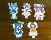 Touhou Project Art Sticker 5Pcs. Inaba Cirno Reimi Free Shipping