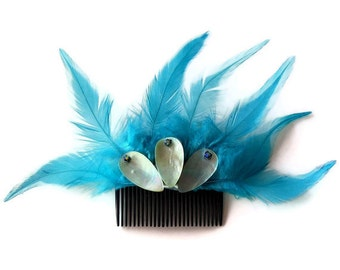 Bridal Hair Comb Feather Bridal Headpiece Turquoise Blue Feather Bridal Hair Fascinator Rustic Modern Boho Wedding Handmade OOAK
