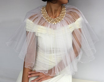 Tulle Bridal Cape Bolero, Express Shipping, Pearl Bead Collar Capelet, Dress Cover-up, Romantic Modern Summer Wedding Cape Party Wear Stole
