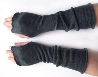 Long Fingerless Gloves for men, Thumbhole Arm Warmers