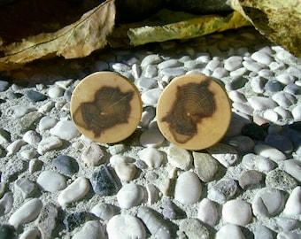 WOODEN Round CUFFLINKS From Spalted APPLE Tree Branch Handmade Wooden Cufflinks