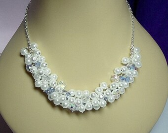 30% Off SALE thru Mon White Pearl and Blue Crystal Cluster Necklace, Christmas Gift, Mom Sister Grandmother Jewelry Gift, Bridesmaid Gift, S