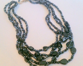 Black Multi Strand Beaded Necklace