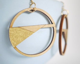 Laser Cut Wood and Gold Modern Hoop Earrings