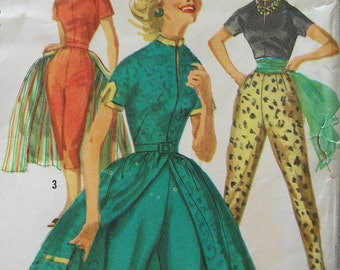 Fabulous Vintage 50s Misses' PANTS, BLOUSE, OVERSKIRT Pattern Mostly Factory Folded