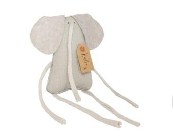 Tiny Toy Elephant Art Doll, Miniature Elephant Stuffed Toy Animal, Little Grey Elephant, Birthday Gift for Animal Lover, Poosac