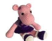 Crocheted Hippopotamus - Hippo Amigurumi - Hand Crocheted - made to order
