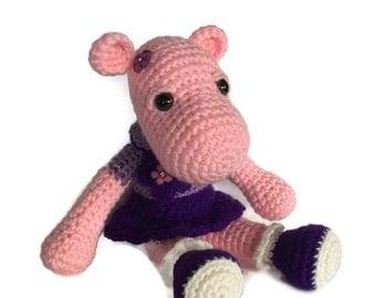 Hippopotamus doll - Plush Hippo - Hippo doll - Handmade Hippo - crocheted hippo