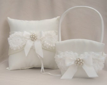 Flower Girl Baskets and Ring Bearer Pillow Set Ivory Cream Custom Colors too Two Baskets One Pillow