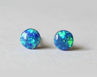 Tiny 4mm Titanium Deep Blue Opal Studs, hypoallergenic titanium post earring, silicone backs, ocean blue opal studs, for sensitive ears