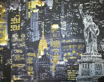 NYC New York City Buildings Landmarks Lights Blue Gray Cotton Fabric Fat Quarter Or Custom Listing