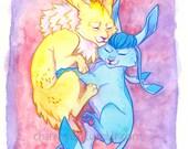 Glaceon/Jolteon cuddles- Eeveelution/Pokemon inspired-5x7 inch print