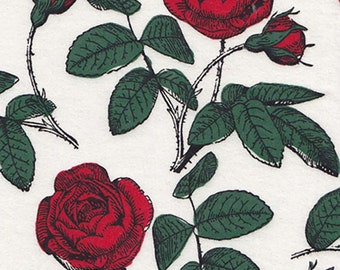 Rose Fabric - Red Fabric - Rockabilly Fabric - Flannel Fabric - Floral Fabric - Flower Fabric - Girl Fabric - Cotton Fabric - by the Yard