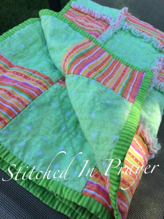 Lollipop Rag Quilt, Baby Girl Rag Quilt, Baby Quilt, Orange Stripe, Lime Green, Baby Shower Gift, Stitched In Prayer