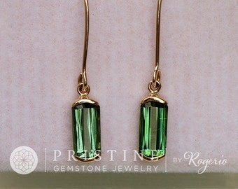 Tourmaline Dangle Earrings in Yellow Gold Bar Settings Fine Gemstone Earrings October Birthstone