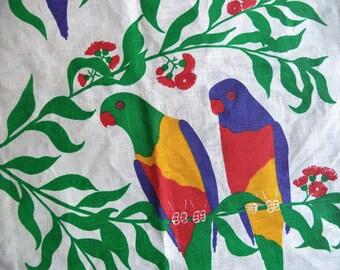 Linen lorikeet towel/ vintage tea towel/ Made in Australia by Judy McCalium linen towel/ exotic bird kitchen decor
