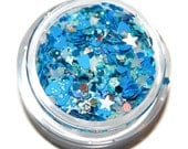 Endless Sky Blue and White Sparkle Mix, Solvent Resistant Glitter Mix:  5 GRAM JAR. Raw Nail Glitter Mix for Nail Polish and Nail Art